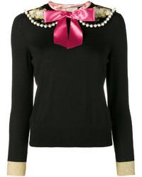Pull en laine brodé noir Gucci