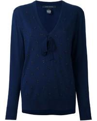 Pull en laine orné bleu marine Marc Jacobs