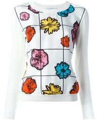 Pull en soie à fleurs blanc Moschino