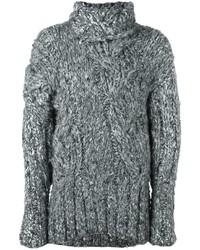 Pull en soie en tricot gris Ann Demeulemeester