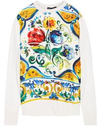 Pull en soie imprimé jaune Dolce & Gabbana