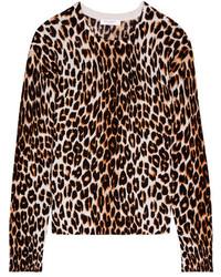 Pull en soie imprimé léopard beige Equipment