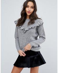 Pull en tricot gris Miss Selfridge