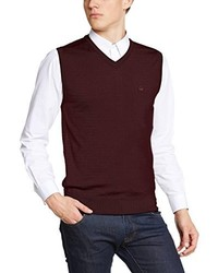Pull en v sans manches bordeaux Merc of London