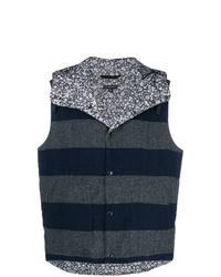 Pull en v sans manches imprimé bleu marine Engineered Garments