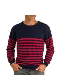 Pull rouge et bleu marine