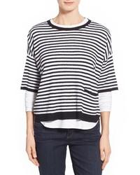 Pull surdimensionné à rayures horizontales blanc et noir