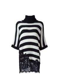 Pull surdimensionné à rayures horizontales blanc et noir Ermanno Scervino