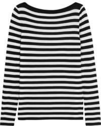 Pull surdimensionné à rayures horizontales blanc et noir Michael Kors