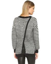 Pull surdimensionné à rayures horizontales blanc et noir Rebecca Minkoff
