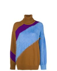 Pull surdimensionné à rayures horizontales multicolore
