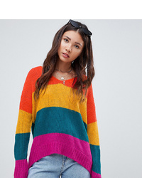 Pull surdimensionné à rayures horizontales multicolore E.L.K