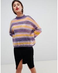 Pull surdimensionné à rayures horizontales multicolore Vila
