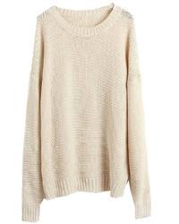 Pull surdimensionné en tricot beige
