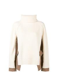 Pull surdimensionné en tricot beige Sacai