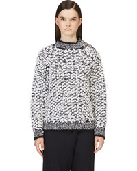 Pull surdimensionné en tricot blanc et noir Balmain