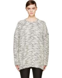 Pull surdimensionné en tricot blanc et noir Helmut Lang