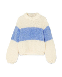 Pull surdimensionné en tricot blanc Ganni