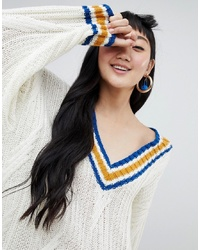 Pull surdimensionné en tricot blanc Monki