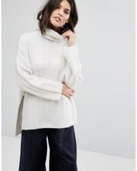 Pull surdimensionné en tricot blanc Selected