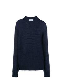Pull surdimensionné en tricot bleu marine Prada