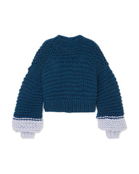 Pull surdimensionné en tricot bleu marine The Knitter