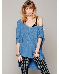Pull surdimensionné en tricot bleu