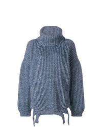 Pull surdimensionné en tricot bleu Balenciaga