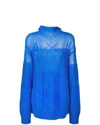 Pull surdimensionné en tricot bleu Maison Margiela