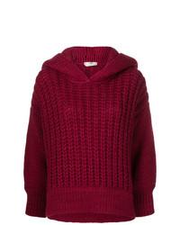 Pull surdimensionné en tricot bordeaux Fendi