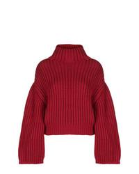 Pull surdimensionné en tricot bordeaux Lanvin