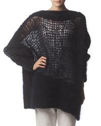 Pull surdimensionné en tricot gris foncé Acne Studios