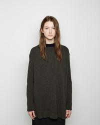 Pull surdimensionné en tricot gris foncé Marni