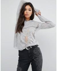 Pull surdimensionné en tricot gris Glamorous
