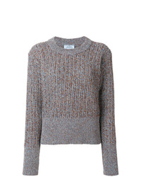 Pull surdimensionné en tricot gris Prada