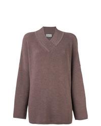Pull surdimensionné en tricot marron