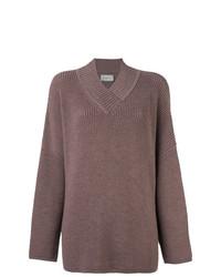 Pull surdimensionné en tricot marron Lanvin