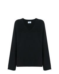 Pull surdimensionné en tricot noir Prada