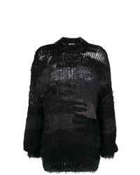Pull surdimensionné en tricot noir Saint Laurent