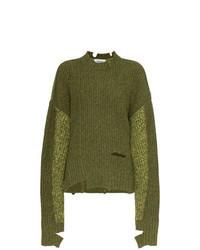 Pull surdimensionné en tricot olive