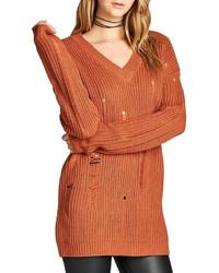 Pull surdimensionné en tricot orange