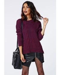 Pull surdimensionné en tricot pourpre foncé