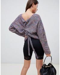 Pull surdimensionné en tricot pourpre foncé PrettyLittleThing