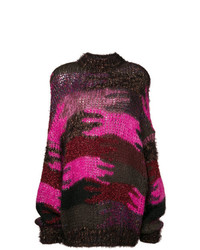Pull surdimensionné en tricot pourpre foncé Saint Laurent