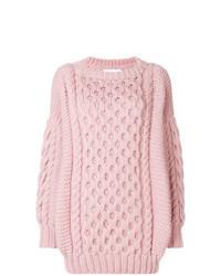 Pull surdimensionné en tricot rose