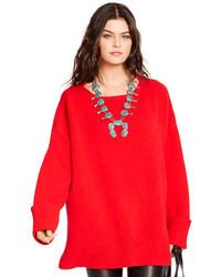 Pull surdimensionné en tricot rouge