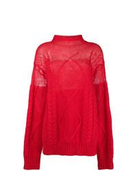 Pull surdimensionné en tricot rouge Maison Margiela