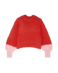 Pull surdimensionné en tricot rouge The Knitter
