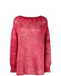 Pull surdimensionné en tricot rouge Twin-Set
