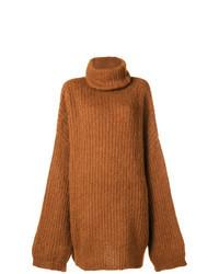 Pull surdimensionné en tricot tabac